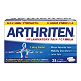 Arthriten Inflammatory Pain Formula Caplets with 3 Active Ingredients for Maximum Pain Relief: Aspirin, Acetaminophen & Caffeine White, 28 Count (Pack of 1)