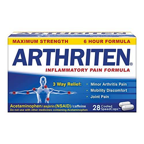 Arthriten Inflammatory Pain Formula Caplets with 3 Active Ingredients: Aspirin, Acetaminophen & Caffeine, White, 28 Count (Pack of 1)