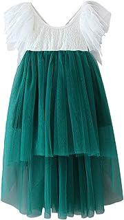 Lace Flower Girl Dresses Tulle Tutu Formal Irregular Backless Dresse Party Dance Green