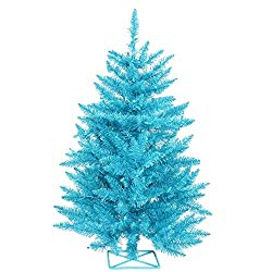 vickerman 3 foot sky blue artificial christmas tree pre-lit