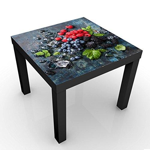 Bilderwelten Mesa de diseño - Berry Mix with Ice Cubes Wood - 55x55x45cm, Mesa Auxiliar mesilla de...