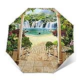 Paraguas Plegable Automático Impermeable Preciosa terraza con Vistas al mar de la Cascada, Paraguas De Viaje Compacto a Prueba De Viento, Folding Umbrella, Dosel Reforzado, Mango Ergonómico