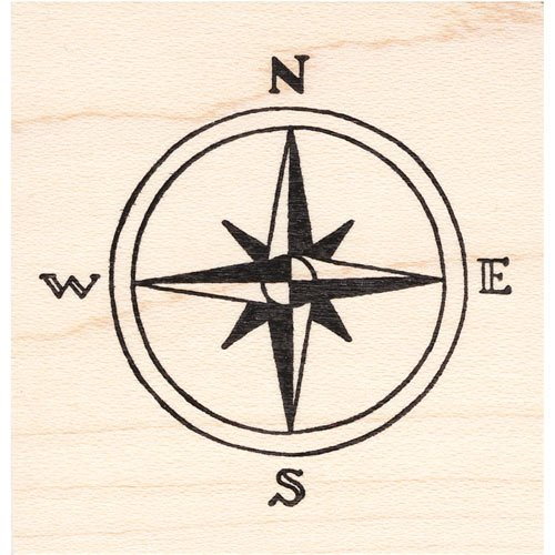 Map Compass Rose Rubber Stamp