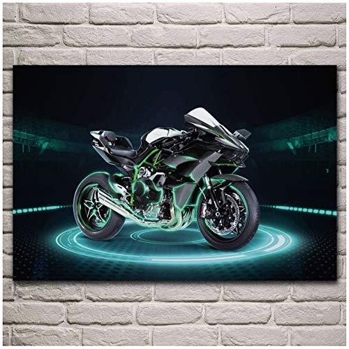 DrCor H2R Super Bike Motor Maschine Motorrad Poster Malen Wohnzimmer Wandkunst Leinwanddrucke Wohnkultur -24x36 Zoll No Frame 1 PCS