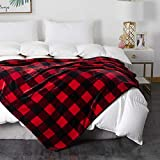 COCOPLAY W Plaid Throw Blanket, Red Checker Blanket, All Season Microfiber Velvet Super Luxury Lightweight Warm Soft Cozy Blanket for Bed, Couch, Car (Red Black Checker, Throw(50' x 60'))