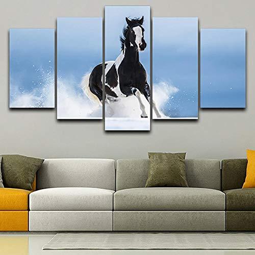 Rkmaster-Imagen De Arte De Pared Decoración Del Hogar Cartel Tipográfico Hd 5 Panel Caballo Corriendo En La Nieve Marco Moderno Sala De Estar Pintura