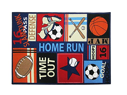 HUAHOO Fun Sport Kids Rugs Soccer Baseball Football Basketball with Multi-Color for Boy Girl Playroom 51x 39inch