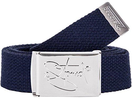 2Stoned Hosengürtel Schmal Navy, Chromschnalle Classic, 3 cm breit, Textil-Gürtel für Damen und Herren
