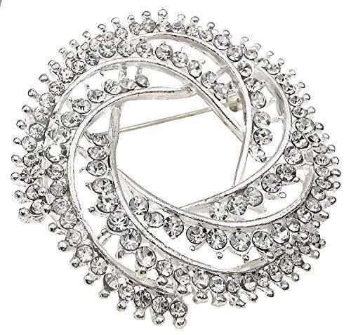 Bijoux De Ja Rhodium-Plated Rhinestone Crystal Women Broach Brooch Pin (Swirl)