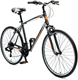 Critical Cycles Barron Hybrid Bike 21 Speed, Graphite and Orange, 16in...