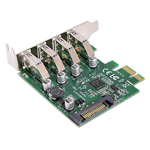 ZXY-NAN Puerto de bajo Perfil 4 Puertos PCI-E TO USB 3.0 HUB PCI Express Expression Card 5GBPS para la Placa Base Tabla de Control