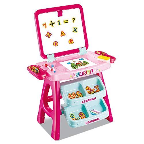 lavagna magnetica bimbi BAKAJI Lavagna Magnetica per Bambini 2 in 1 Doppia Area di Disegno con Cavalletto e Scomparti Completo di Accessori Numeri e Lettere Dimensioni 43 x 39