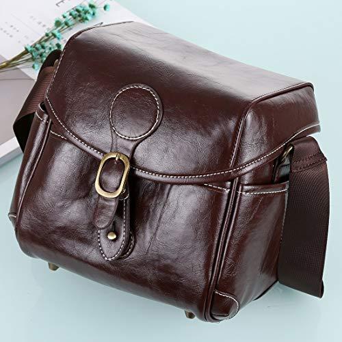 DMXYY Beruf tragbaren Digitalkamera-Schulter-Beutel weicher PU-Leder Tasche mit Trageriemen, Größe: 21cm x 15cm x 20cm (Kaffee) (Color : Coffee)