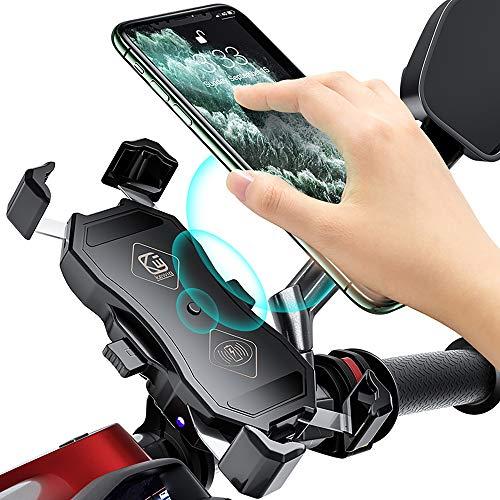YouthRM Cargador Inalámbrico Qi/USB de 15 W para Motocicleta y Bicicleta a Prueba de Agua, Soporte para Teléfono 2 en 1, Montaje en Manillar o Espejo Retrovisor,USB+Qi Wireless Charging