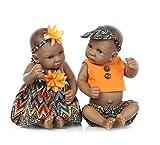 FACAZ Lifelike Baby Doll Twins Babies 27 Cm Toddler Reborn Baby Dolls Silicone African Original Baby Realistic Reborn Babies Silicone Full Body Vinyl Bath Toys Best Xmas Gift