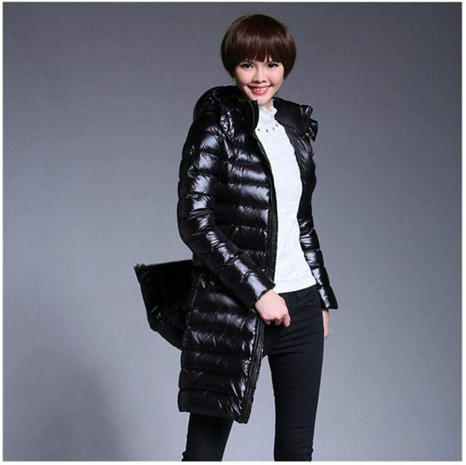 DishyKooker Brand Women Thicken Warm Down Jackets XLong Female Hooded Jackets and Coats Slim Fit Down Jackets Wt1282
