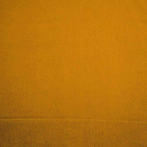 HOMESCAPES – Tissu en Pur Coton – Couleur Unie – Jaune Moutarde – 150 cm Largeur – Approprié pour la Fabrication des Rideaux et des Tapis et Tissus d'Ameublement