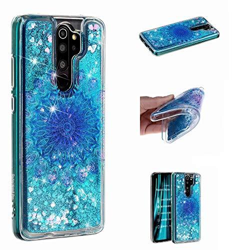 Miagon Flüssig Hülle für Xiaomi Redmi Note 8 Pro,Glitzer Weich Treibsand Handyhülle Glitter Quicksand Silikon TPU Bumper Schutzhülle Case Cover-Blau Totem Blume