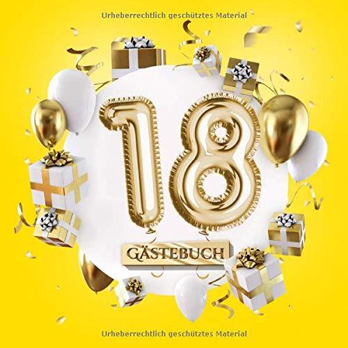18 Gästebuch: Gelbe Deko zum 18.Geburtstag für Mann oder Frau - 18 Jahre Geschenk - Partydeko Gelb...