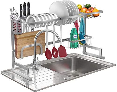 Sorbus Over-The-Sink Dish Drying Display Rack Stand, Draining Rack Sink Organizer with Utensil Holder Hooks for Kitchen Counter Storage Organizer for Dishes, Utensils, etc (Silver)