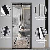 Puerta de pantalla magnética, 39 × 83 pulgadas Cortina de mosquito mosquitera de malla duradera de alta densidad, Puerta de pantalla de fibra de vidrio de alta resistencia Fácil instalación, Negro