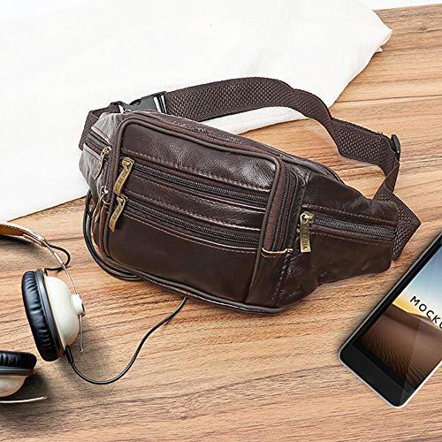 Mujeres Hombres Riñonera de Gran Capacidad con Cremallera Bolsillo de Hombro Bolsas de Mensajero Paquete de cinturón de Viaje PU Cuero Ocio Bolso de Cintura