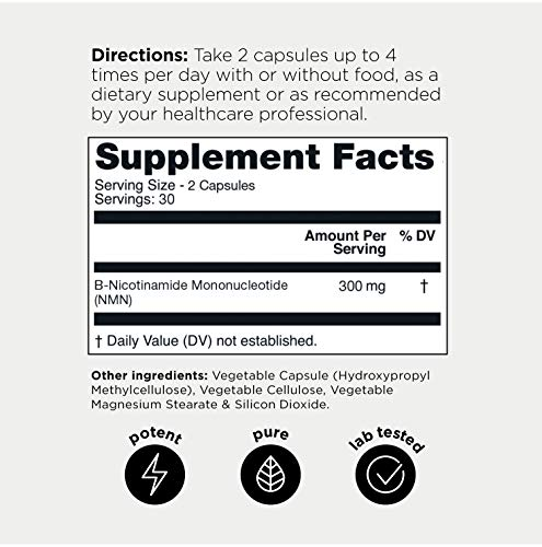 51ICZutRc0L - Ultra High Purity Stabilized NMN Capsules - 99.7% Highly Purified for Increased Bioavailability - 300mg - Naturally Boost NAD+ Levels - 60 Capsules NMN Nicotinamide Mononucleotide Supplement