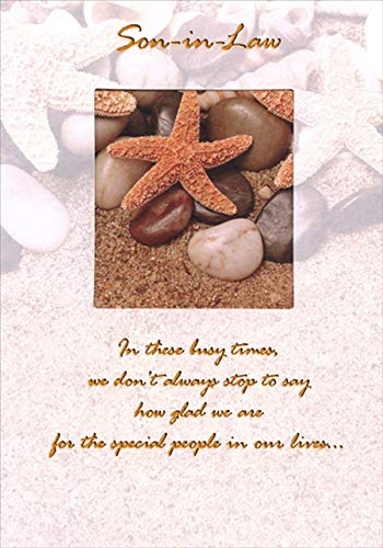 Designer Greetings Starfish Inside Square Die Cut Window Birthday Card for Son-in-Law