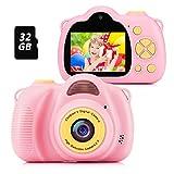 Fede Cámara Fotos Infantil Cámara Digital para Niños, Juguetes Regalos para Niños o Niñas de 3 a 12 Años, Pantalla HD de 2 Pulgadas 12MP 1080P Tarjeta de 32GB TF Rosa