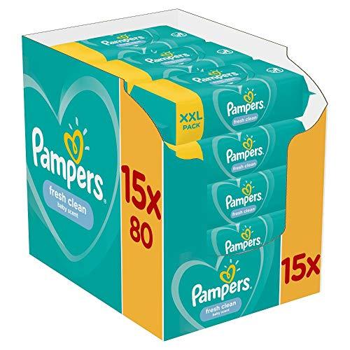 Pampers Fresh Clean Feuchttücher 15 Packungen Mit Feuchttüchern = 1200 Feuchttücher, Mit Frischem Duft, Dermatologisch Getestet