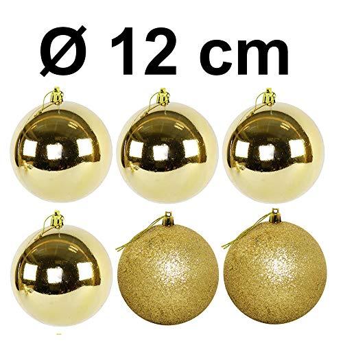 Weihnachtskugeln aus Kunststoff zum Hängen für den Außenbereich - Frost und Wetterfest - Outdoor Weihnachtkugeln (6 Stück Gold 12 cm)