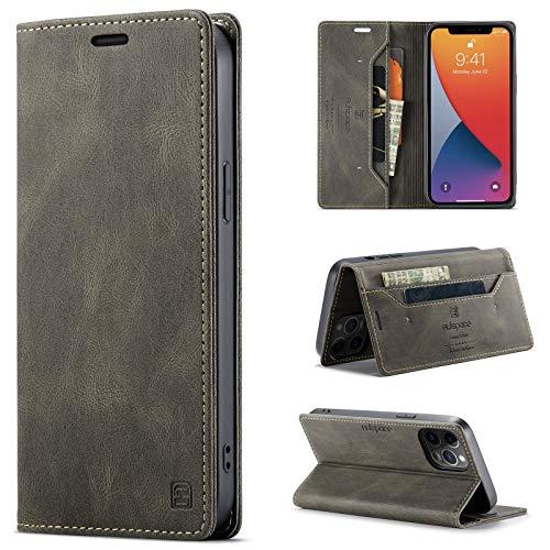 uslion Funda para iPhone 12 Pro Max RFID, funda protectora para teléfono móvil, tarjetero, billetera, cierre magnético, funda de piel para iPhone 12 Pro Max, marrón café