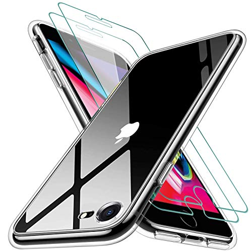 KEEPXYZ Funda para iPhone 7 iPhone 8 Silicona Transparente TPU Antigolpes + 2 Pcs Protector de Pantalla para iPhone 7 iPhone 8 Cristal Templado, Vidrio Templado para iPhone 7 iPhone 8