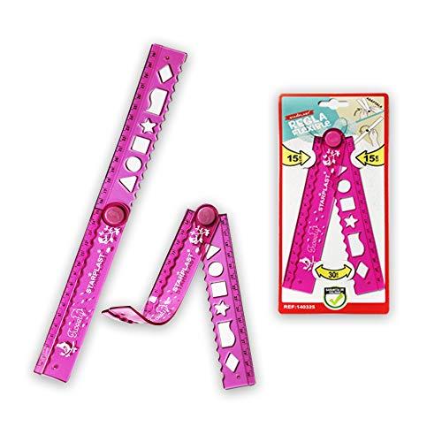 Starplast Regla Flexible Extensible, Regla Adaptable, 15cm a 30cm para Uso Escolar, Estudiantes, Niños, etc. Rosa.