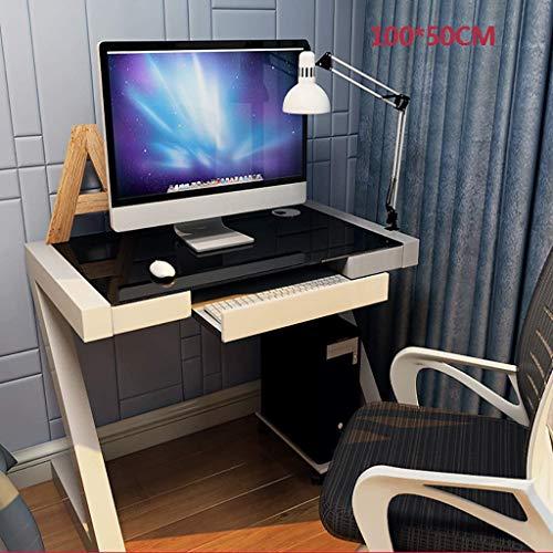 Escritorio de computadora Simple y moderno, escritorio de computadora de vidrio templado, escritorio de escritorio para el hogar, escritorio de estudio simple, escritorio, trabajo de oficina en casa