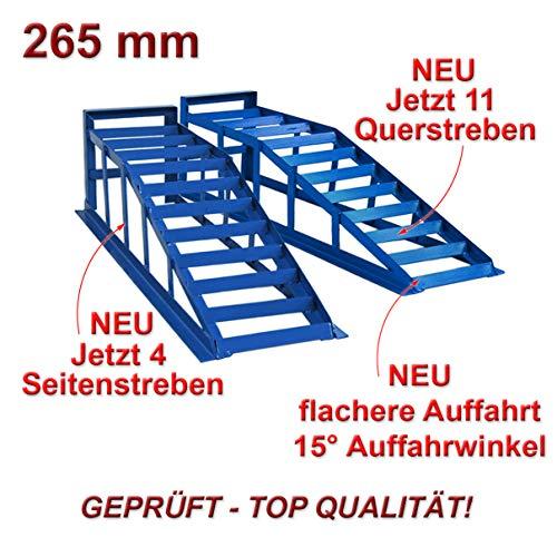 Helo 2 Stück KFZ Auffahrrampe für tiefere Autos blau 2000 kg Belastung pro Paar (max. 265 mm Reifenbreite), PKW Rampe Auffahrbock mit 15 Grad Auffahrwinkel und 220 mm Auffahrhöhe *Spezial*