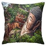 WH-CLA Fundas Cojín,Estatua De Buda En Leshan Throw Pillow Case Suave Protectora De...