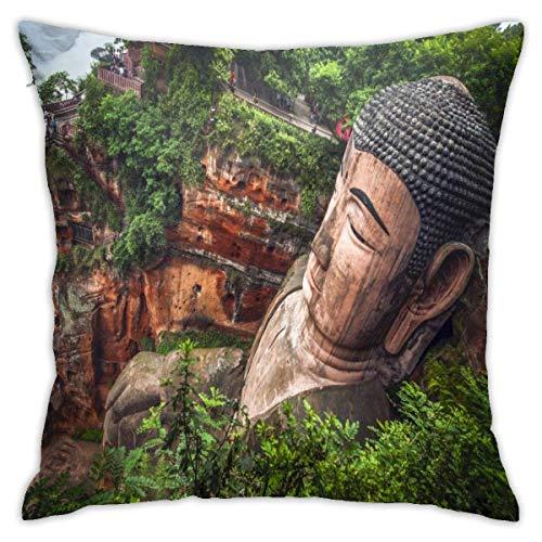 WH-CLA Fundas Cojín,Estatua De Buda En Leshan Throw Pillow Case Suave Protectora De Almohada Decorativa Almohada Cubierta para Coche Sofá Cama,45x45 cm