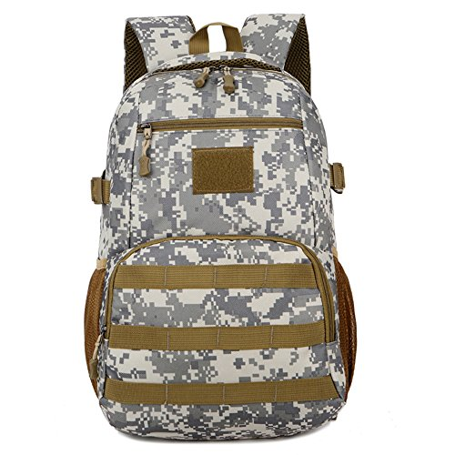 WENTAO Hommes Tactiques Sacs Hommes Sacs De Voyage Ultralight Chasse Gamme Soldat Ultime Stealth Heavy Duty Transporteur Sac À Dos Imperméable avec Patch 28 * 45 * 16 Cm (W * H * D), Citycamouflage