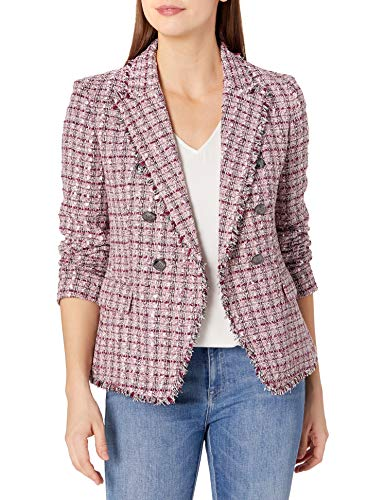 Tahari ASL Women's Double Breasted Jacket with Fringe, Pink Berry Multi Tweed, 12