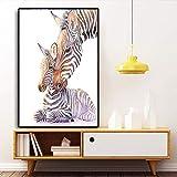 OCRTN Pintura nórdica sobre Lienzo guardería Cebra Madre y su Hijo Animales Arte de Pared póster impresión para bebés niños habitación decoración del hogar 50 x 70 cm