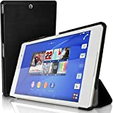 iGadgitz U3424 Nero Eco Smart Cover Custodia Pelle Compatibile con Sony Xperia Z3 Tablet Compact SGP611 con Supporto Multi-Angle + Auto Sleep/Wake