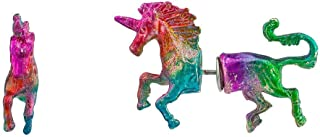Lux Accessories Gay Pride Rainbow Glitter Prism Unicorn Horse Front Back Stud Earrings