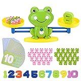 BBLIKE Montessori Mathe Waage Spielzeug, Zählen und Rechnen, Cartoon Tier Frosch Balance/Geschicklichkeit 84 Stück Spielzeug Lernspielzeug mit Waage und Zubehör für Kinder ab 5 Jahhre Alt