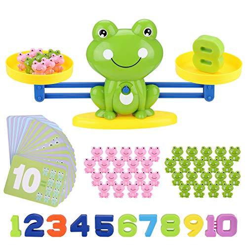 BBLIKE Montessori Mathe Waage Spielzeug, Zählen und Rechnen, Cartoon Tier Frosch Balance/Geschicklichkeit Spielzeug Lernspielzeug mit Waage und Zubehör für Kinder ab 5 Jahhre Alt