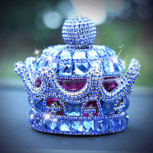 uzoho Creative Luxury Bling Crystal Crown Car Perfume Fragrance Bottle Seat Ornament Home Office Air Freshener Home Decor (Blue)