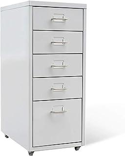 Ausla Commode pour bureau et maison avec 4 roulettes et 5 tiroirs, armoire de bureau, 28 x 41 x 68,5 cm