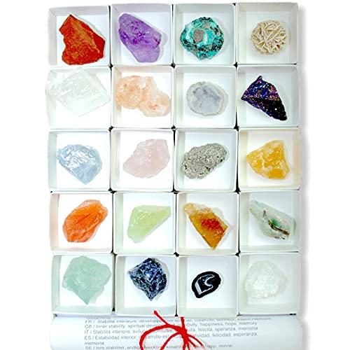 Steinfixx - Premium Mineraliensammlung 20 Steine | Heilsteine | Edelsteine | Schmucksteine | je 25-50 mm | Edelsteine aus Aller Welt