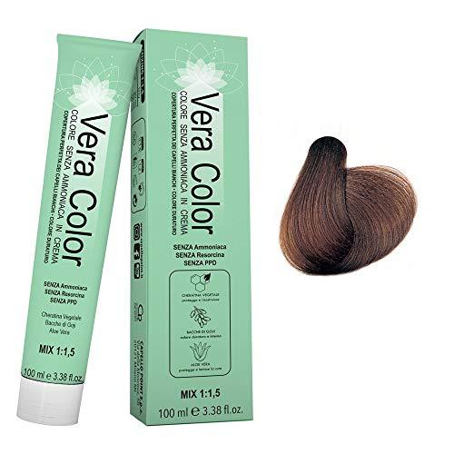 Vera Color - Coloración Permanente en Crema, Tinte Sin Amoníaco con Queratina Vegetal, Aloe Vera y Bayas de Goji - Cobertura Total de las Canas - Rubio Oscuro Dorado 6.3 - 100 ml