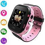 Reloj inteligente para niños, rastreador GPS para niños niñas niños verano al aire libre cumpleaños con cámara SIM llamadas anti-pérdida SOS Smartwatch pulsera para iPhone Android Smartphone (Rosa)